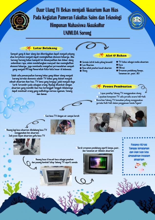 Daur Ulang TV Bekas menjadi Akuarium Ikan Hias pada Kegiatan Pamerean FST UNIMUDA Sorong